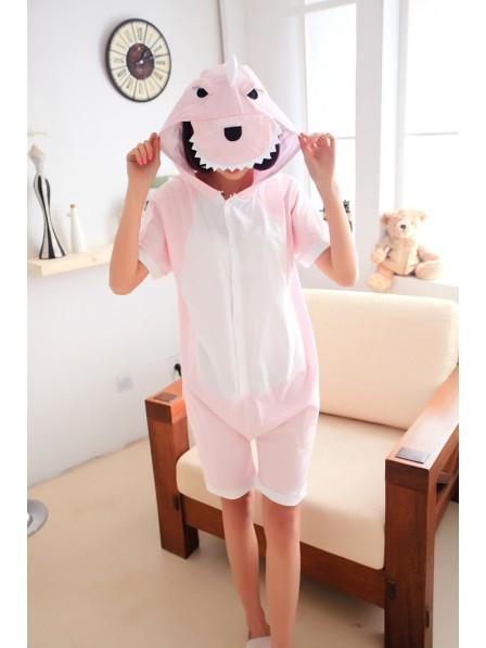 Pink Dinosaur Onesie Short Sleeves Pajamas