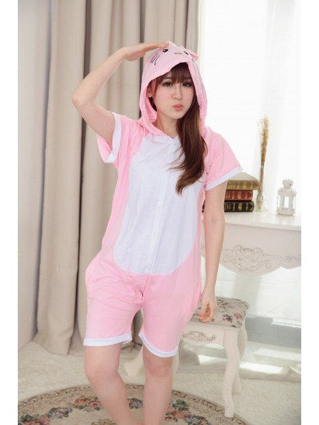 Pink Hello Kitty Onesie Short Sleeves Pajamas