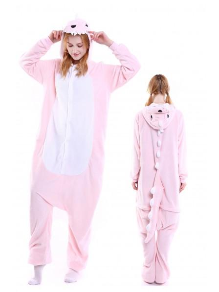 Pink Dinosaur Onesie Pajamas Flannel