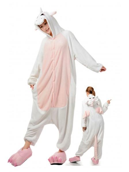 White Unicorn Onesie Pajamas Flannel