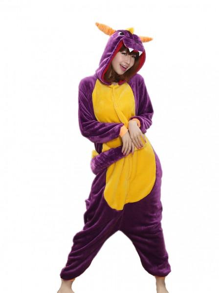 Purple Dragon Onesie Pajamas Flannel