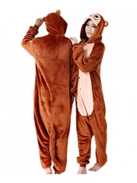 Brown Monkey Onesie Pajamas Flannel