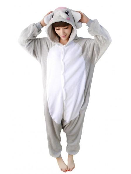 Grey Elephant Onesie Pajamas Flannel