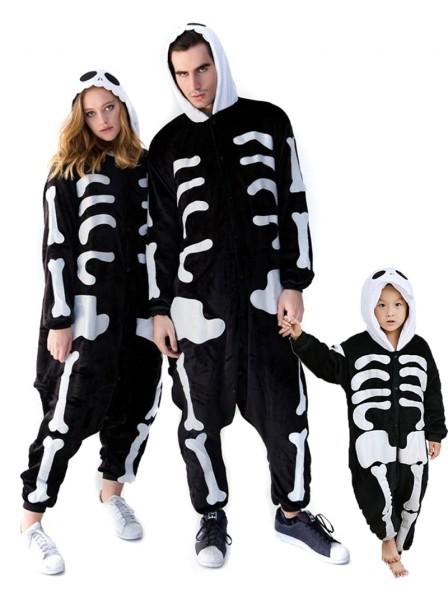 Skull Skeleton Onesie Pajamas for Adult & Kids Animal Costume Flannel