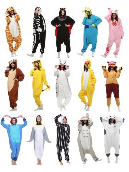 Womens and Mens Adult Animal Onesies Pajamas Polar Fleece