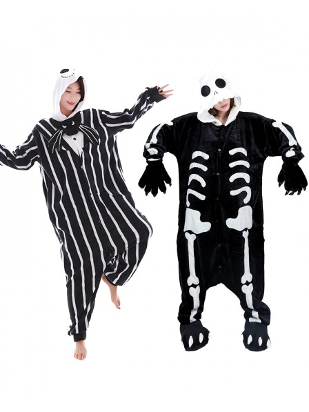 Skeleton & Jack Skellington Onesie Skull Pajamas Halloween Costume