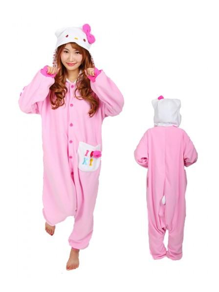 Pink Hello Kitty Onesie Pajamas Polar Fleece