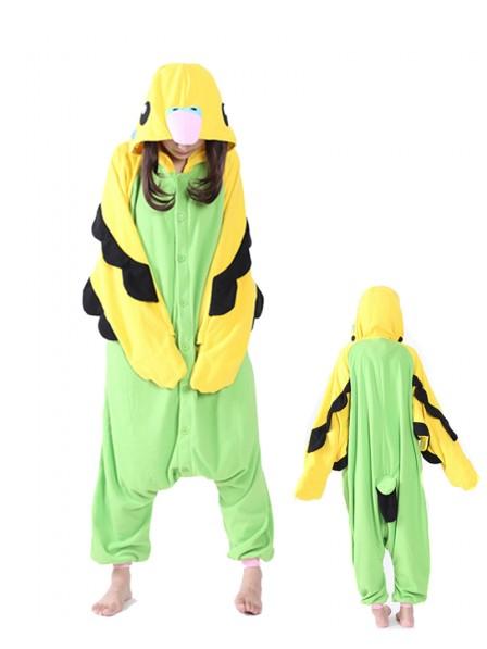 Green Parrot Onesie Pajamas Polar Fleece