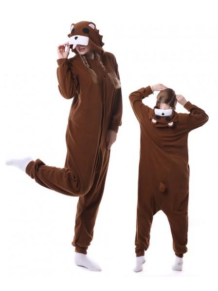 Brown Bear Onesie Pajamas Polar Fleece