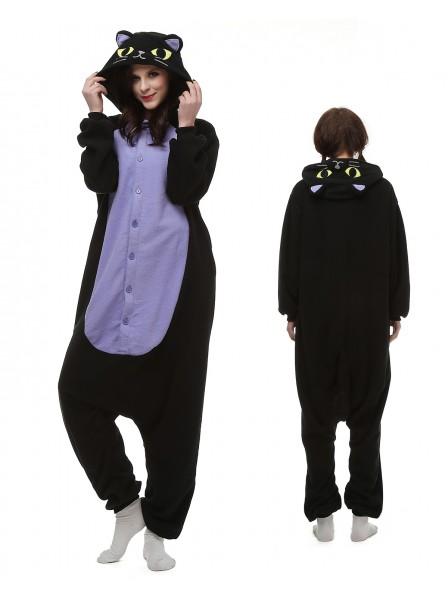 Midnight Cat Onesie Pajamas Polar Fleece