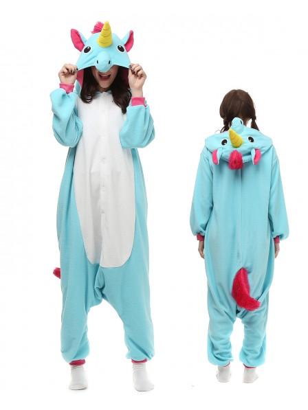 Blue Unicorn Onesie Pajamas Polar Fleece