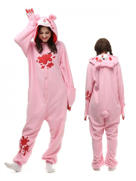Pink Gloomy Bear Onesie Pajamas Polar Fleece