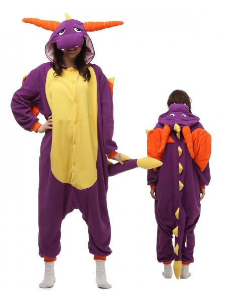 Purple Dragon Onesie Pajamas Polar Fleece