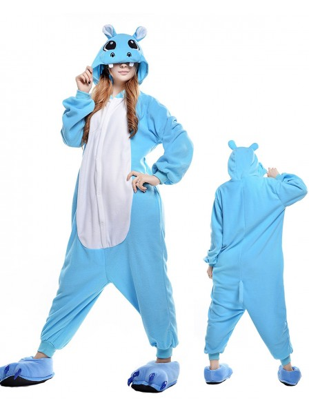 Blue Hippo Onesie Pajamas Polar Fleece