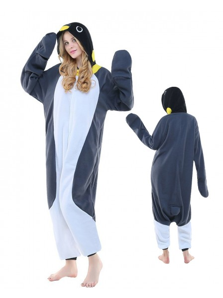 Grey Penguin Onesie Pajamas Polar Fleece