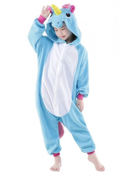 Blue Unicorn Onesie Kids Polar Fleece